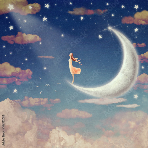 Illustration of night sky with clouds, moon and stars ,  background art