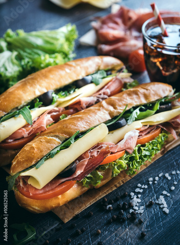 Staande foto Snack Submarine sandwiches served