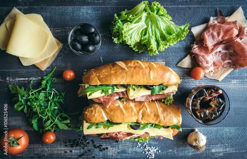Staande foto Snack Submarine sandwiches time