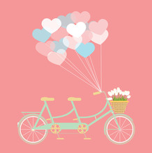 Tandem Bycicle With Balloons