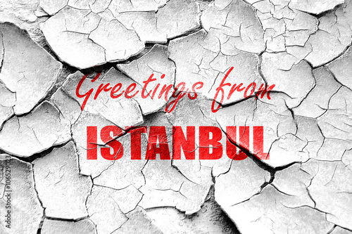 Photo  Grunge cracked Greetings from istanbul