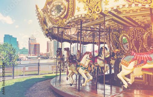 Fotografie, Obraz  Outdoor vintage style carousel