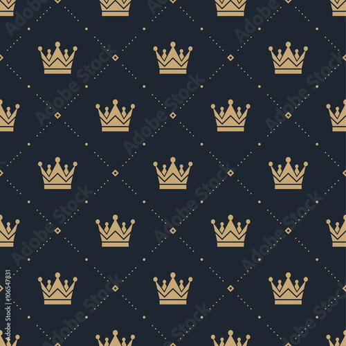 Seamless pattern in retro style with a gold crown on a blue background Poster Mural XXL