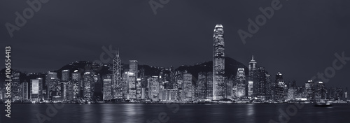 Foto op Canvas Brooklyn Bridge Panorama of Hong Kong City at night