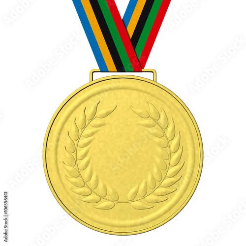 Fotografía  Medaglie Olimpiche 123_A Medaglie olimpiche: Oro con nastro con i colori olimpici