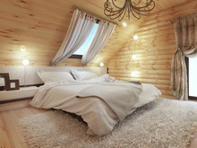 Bedroom Interior In A Log On T...