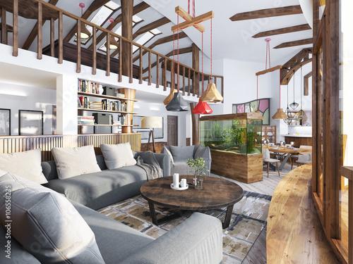 Fototapeta Large living room studio with a kitchenette and a balcony in an obraz na płótnie