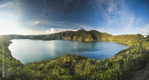 Stampa su Tela panorama of crater lake with two islands at sunset