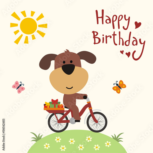Happy Birthday! Funny Puppy On Bike Carries Birthday Gifts