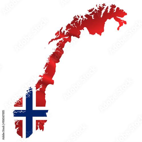 Fotografía  ノルウェー  国旗 地図 アイコン