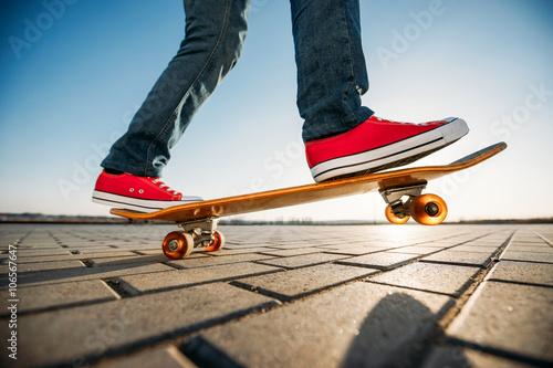 skater riding a skateboard. view of a person riding on his skate