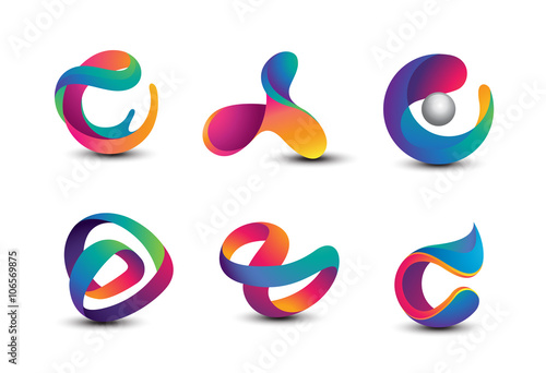 Abstract Colorful Logo Design Elements Fotobehang