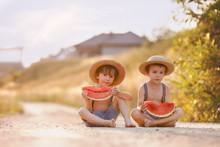 Two Cute Little Boys, Eating W...
