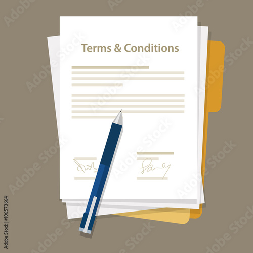 Fotografía  terms and condition of contract document signed