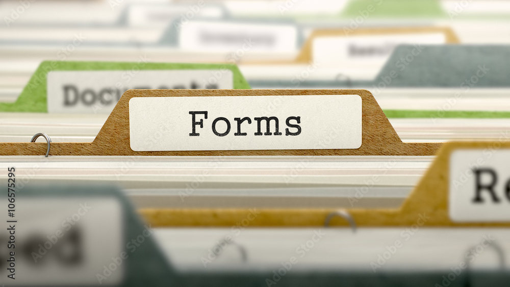 Fototapeta Forms on Business Folder in Multicolor Card Index. Closeup View. Blurred Image. 3D Render.