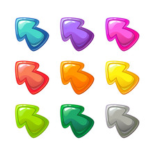 Cartoon Colorful Glossy Arrows Set