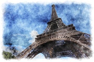 Fototapeta Paryż Eiffel Tower watercolor - digital illustration