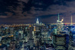 Manhattan cityscape with skyscrapers at night , New York City (a