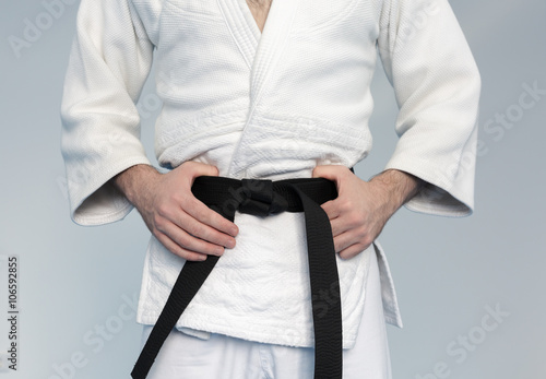 Photo Stands Martial arts Martial arts Master with black belt in white kimono