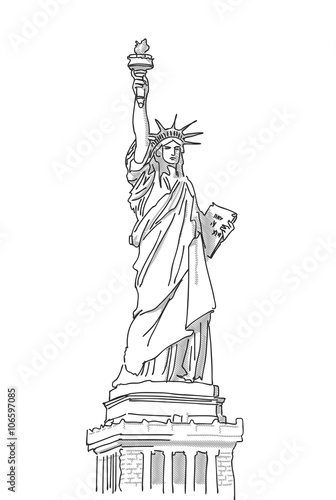 Statue of Liberty Hand Drawn Sketch, Vector Illustration Canvas