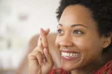 Close Up Of Black Woman Smilin...