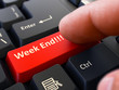 canvas print picture - Week End - Written on Red Keyboard Key. Male Hand Presses Button on Black PC Keyboard. Closeup View. Blurred Background. 3D Render.