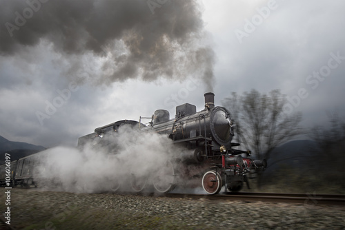 Old steam train плакат