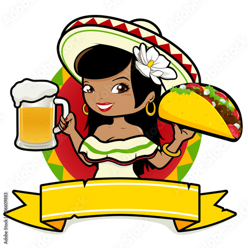 Fotografía  Mexican woman holding a cold beer and a taco