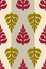 Vector seamless pattern, block printed floral background, handmade Russian motif ornament in maroon and green on stripped beige background. Textile print.