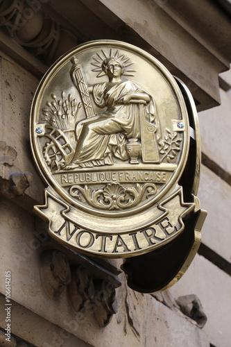 Photo  Plaque de cuivre d'office notarial à Paris