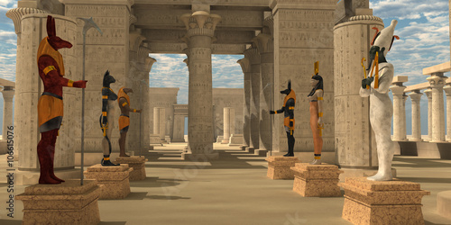 Carta da parati Temple of Ancient Pharaohs - A pharaoh's temple to worship Egyptian gods Seth, Ra, Anubis, Hathor, Osiris, and Bast