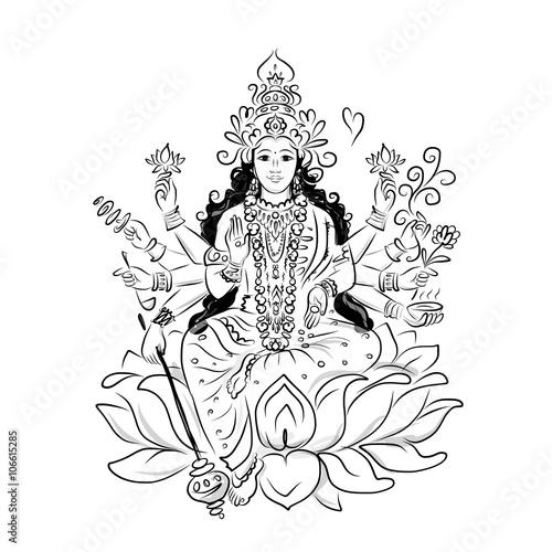 Fotografie, Obraz  Indian goddess Shakti, sketch for your design
