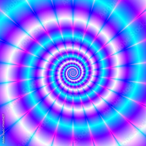Chasing The Tail / Abstrakcyjny fraktalny obraz o spiralnym wzorze w kolorze różowym, niebieskim i fioletowym.