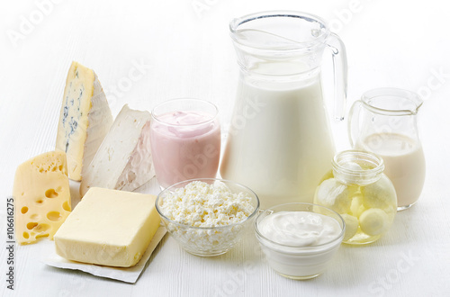 Poster Produit laitier Various fresh dairy products