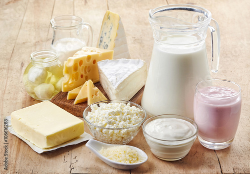 Fotoposter Zuivelproducten Various fresh dairy products