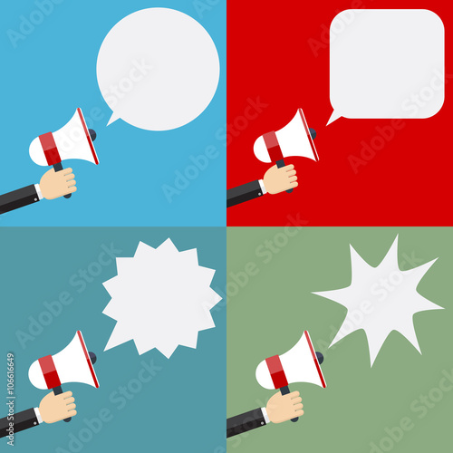 Fotografía  Illustration of megaphone and speech bubbles.