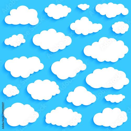 Foto op Plexiglas Hemel White clouds set on blue sky background