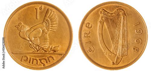 Fotografia  1 penny 1968 coin isolated on white background, Ireland
