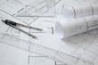 Leinwanddruck Bild - Baupläne / Architektur Hintergrund