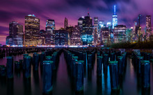 Downtown Manhattan New York City Night Skyline