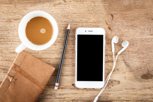 Mobile Phone On Wood Table Background, Clipping Path Inside