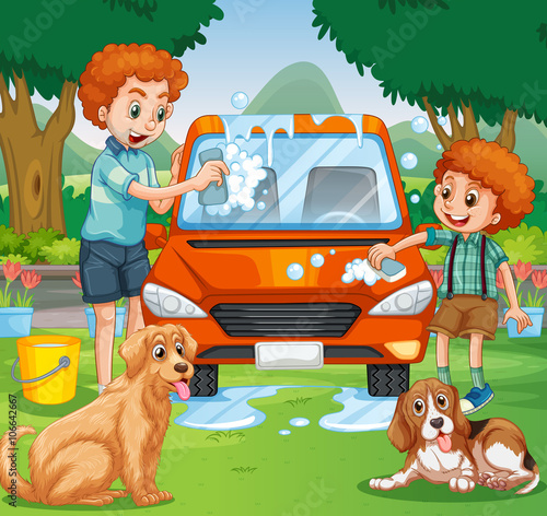 Foto op Canvas Honden Father and kid washing car in the park