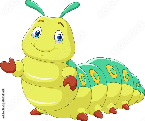 Cartoon Funny Caterpillar Presenting Isolated On White Background