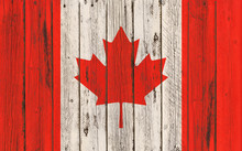 Flag Of Canada Painted On Wood...