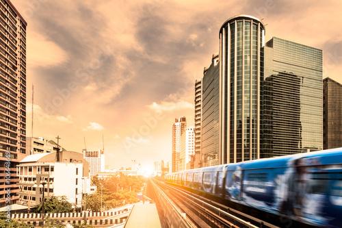 Obraz na plátně  BTS Skytrain rails in Bangkok,Thailand