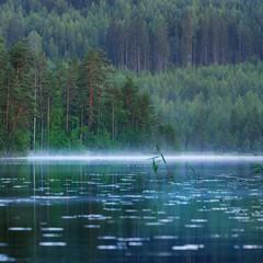 Panel Szklany Rzeki i Jeziora Saimaa lake in Finland