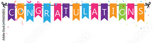 Congratulations with bunting flags Fototapeta