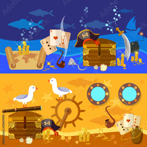 Photo  Pirate adventure banners underwater treasure