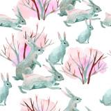 Rabbit in winter. Watercolor seamless pattern - 106662857