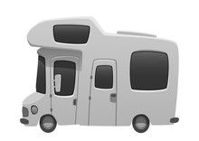 Camper Van Travel Cartoon Summer Car Illustration